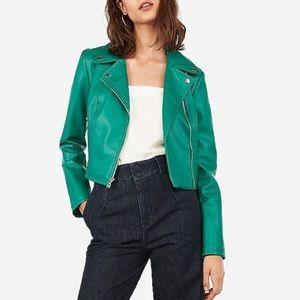 green faux leather moto jacket